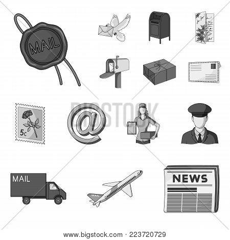Mail and postman monochrome icons in set collection for design. Mail and equipment vector symbol stock  illustration.