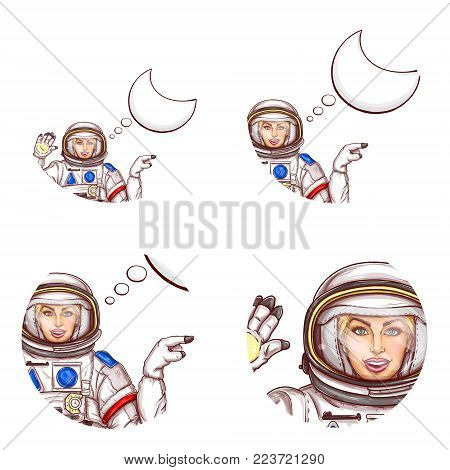 Set of vector pop art round avatar icons for users of social networking, blogs, profile icons. Girl spaceman in space suit waving hand with blank speech bubble, pointing with finger to empty space
