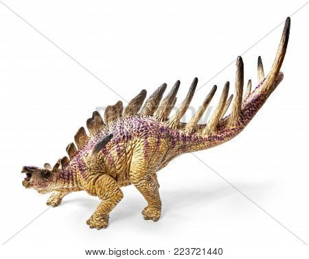 Kentrosaurus dinosaur toy isolated on white background with clipping path. Genus of stegosaurian dinosaur from the Late Jurassic of Tanzania.
