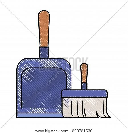 dustpan and hand broom in colored crayon silhouette vector illustration