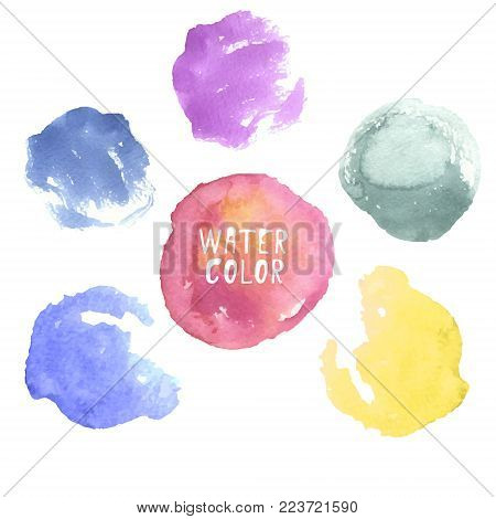 Vector colorful hand drawn watercolor circles, dots, splashes, spots on white background. Abstract water colour paint texture decorative blobs for promotion, networking, web, advertisement