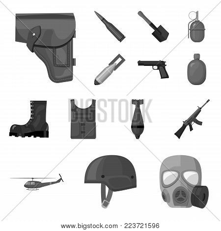 Army and armament monochrome icons in set collection for design. Weapons and equipment vector symbol stock  illustration.