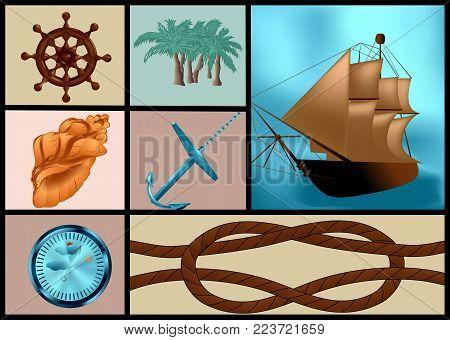 marine themes set. ship, anchor and palm tree