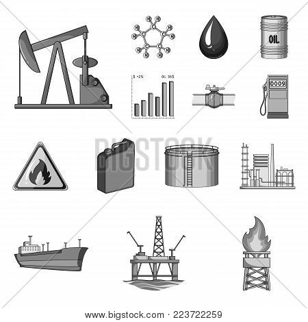 Oil industry monochrome icons in set collection for design. Equipment and oil production vector symbol stock  illustration.