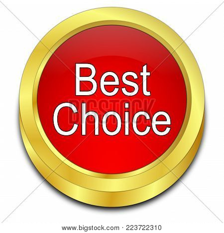 red Best Choice button - 3D illustration
