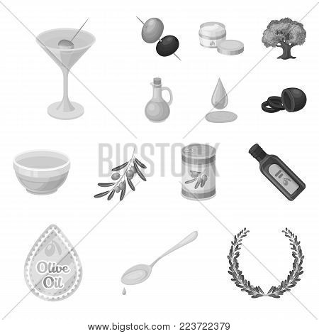 Olive, food monochrome icons in set collection for design. Olive oil, seasoning vector symbol stock  illustration.