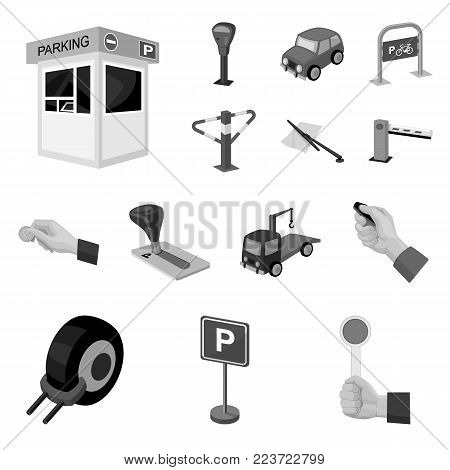 Parking for cars monochrome icons in set collection for design. Equipment and service vector symbol stock  illustration.