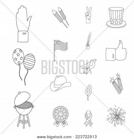 Day of Patriot, holiday outline icons in set collection for design. American tradition vector symbol stock  illustration.