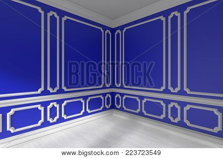 Blue Empty Room With Molding And White Parquet Floor