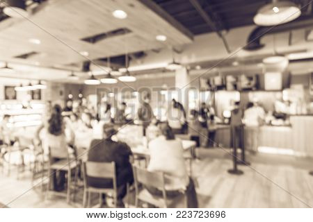 Blurred Abstract Interior Open Space Bakery Cafe In America