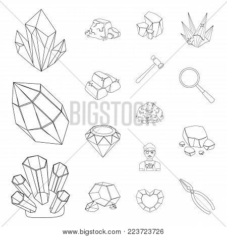 Precious Minerals outline icons in set collection for design. Jeweler and Equipment vector symbol stock  illustration.