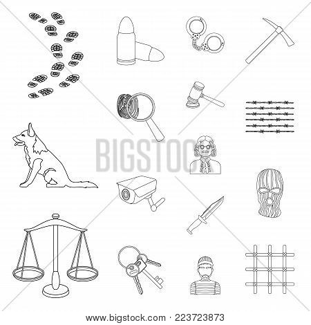 Prison and the criminal outline icons in set collection for design.Prison and Attributes vector symbol stock illustration.