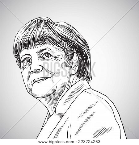 Drawing of Angela Merkel the Chancellor of Germany. Vector Illustration. January 26, 2018
