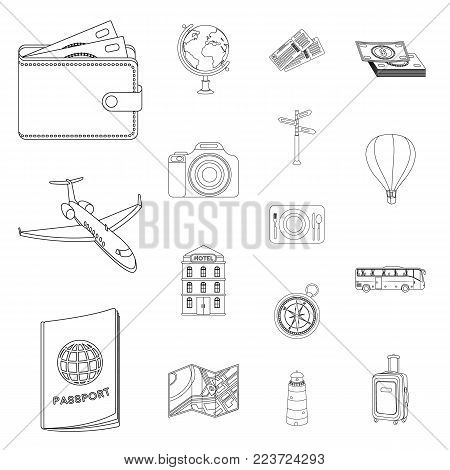 Rest and travel outline icons in set collection for design. Transport, tourism vector symbol stock  illustration.