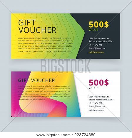 Vector illustration. Gift voucher template with pattern, cute gift voucher certificate coupon design template. Gift certificate
