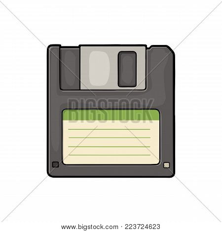 Floppy disk with blank label for personal computer. Vintage flat vector color illustration. Isolated on white background. Hand drawn design element for label and poster