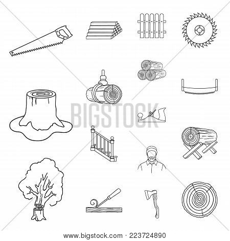 Sawmill and Timber outline icons in set collection for design. Hardware and Tools vector symbol stock  illustration.