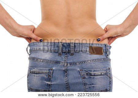 Excess weight at the waist. Female figure isolated on white background.