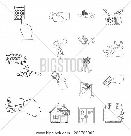 E-commerce and business outline icons in set collection for design. Buying and selling vector symbol stock illustration.