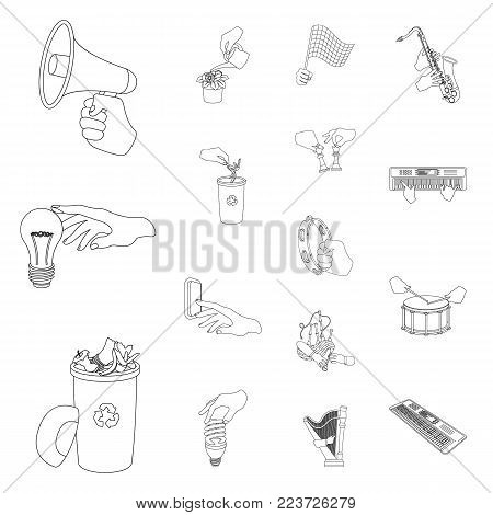 Manipulation by hands outline icons in set collection for design. Hand movement vector symbol stock illustration.