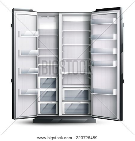 Refrigerator organization monochrome design concept with opened empty wider fridge on white background in realistic style vector illustration
