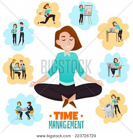 Multitasking flat vector illustration with young business woman meditating in lotus pose after hard work day