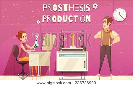 Bionic prosthesis composition with doodle style text and human characters in artificial limb production laboratory vector illustration