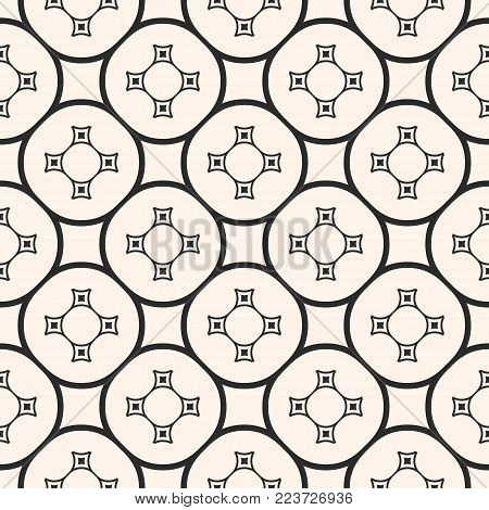 Vector ornamental seamless pattern with repeat geometric tiles. Ornament texture with simple curved shapes, circles, squares, delicate circular grid. Abstract monochrome background. Elegant repeat design element for decor, prints, textile, fabric
