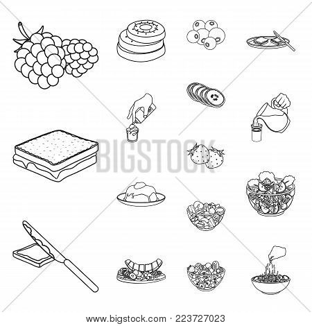 Dessert fragrant outline icons in set collection for design. Food and sweetness vector symbol stock  illustration.