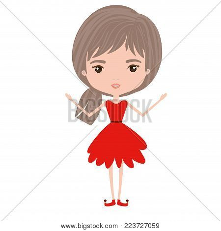 girly fairy without wings and light brown and grey hair in red dress on white background vector illustration