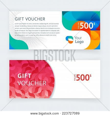 Vector illustration. Gift voucher template with colorful pattern,cute gift voucher certificate coupon design template. Gift certificate