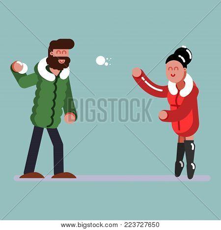 Couple plaing snowballs. Excellent Vector illustration EPS 10