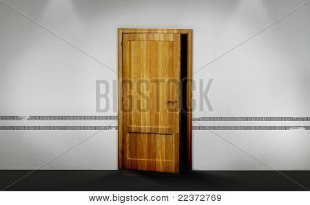 A Half Opened Wooden Door