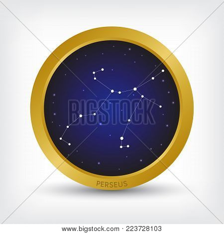 Perseus constellation in golden circle, group of star in galaxy, vector illustration poster