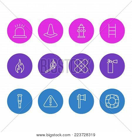 Vector illustration of 12 extra icons line style. Editable set of stairs, burn, taper and other icon elements.