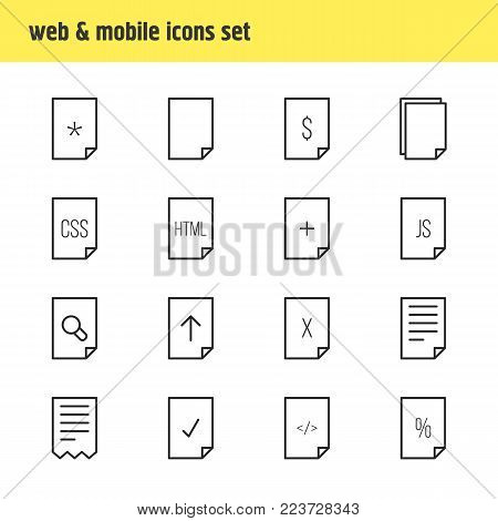 Vector illustration of 16 paper icons line style. Editable set of corrupted, empty, css and other icon elements.