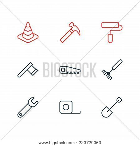Vector illustration of 9 construction icons line style. Editable set of hacksaw, handle hit, hatchet icon elements.