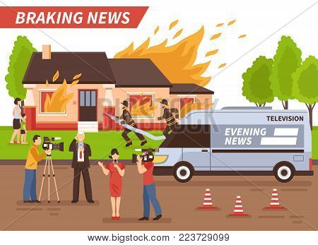 Breaking news of different tv channels live reportage from scene of firefighting of residential house vector illustration