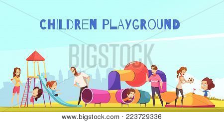 Children playground composition with urban scenery and playground with doodle characters of parents playing with their kids vector illustration