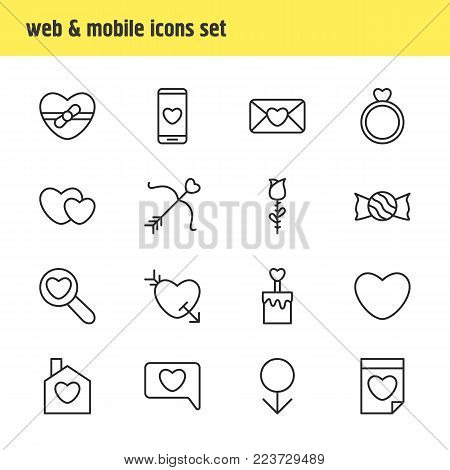 Vector illustration of 16 amour icons line style. Editable set of bow, flower, soul and other icon elements.