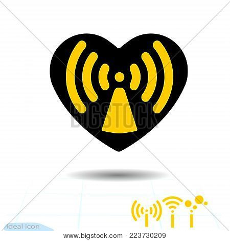 Icon black heart is symbol Radio waves hazard. In love, wireless and wifi. Vector. Valentine s day for remote internet access