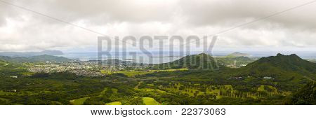Panoramic Image Of A Narrow Tropical Valley In Oahu