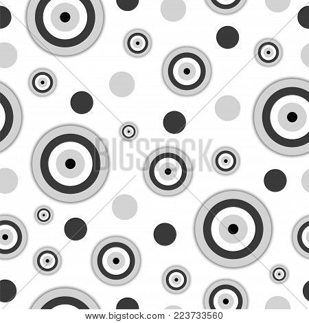 seamless pattern with evil eye in black and grey colors