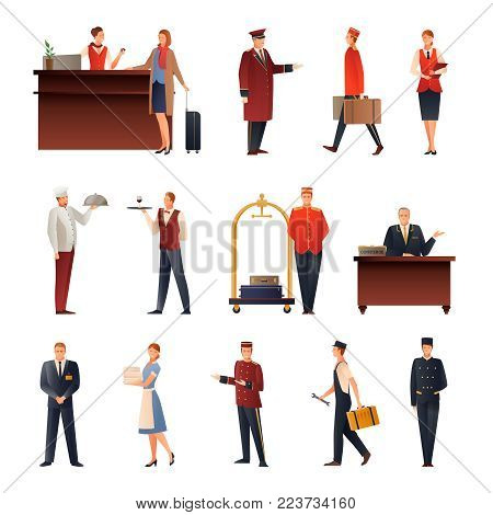 Hotel staff set of flat gradient icons with manager, doorman, guard, maid, chef, receptionist isolated vector illustration