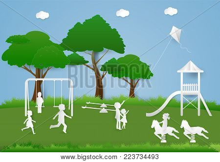 Children having fun playing at playground, Paper art background  paper cut illustration
