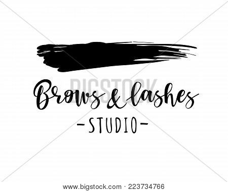 Brows and lashes studio. Vector illustration for beauty salon, lash extensions maker, brow master.