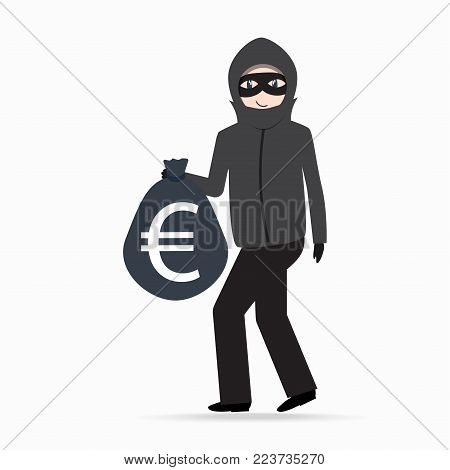 Man holding money bag with euro currency sign. Beware pickpocket sign. thief icon