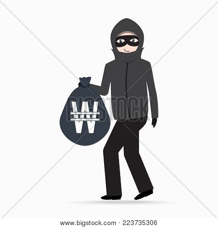 Man holding money bag with KRW currency sign. Beware pickpocket sign. thief icon