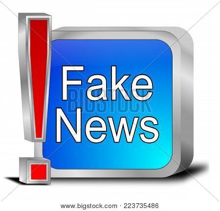 decorative glossy blue Fake News button - 3D illustration
