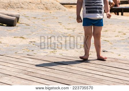 kid in tension at playground only the body
